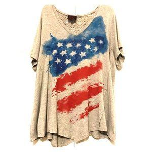 french Blue Patriotic Crochet Back T-Shirt Top